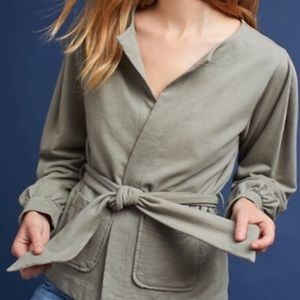 Anthro t.la Olive Open Front Belted Cardigan